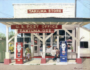 The old Takilma Store in 1978: a painting by Alan Laurie